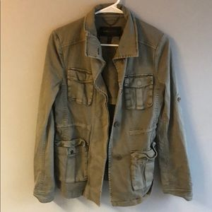 BCBG Green Military Jacket Open Back